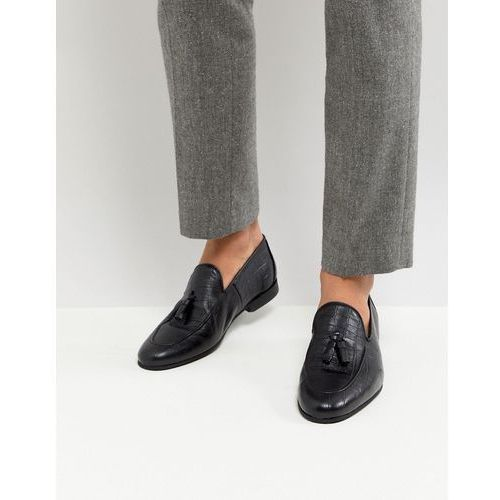 loafer with tassels in black croc - black, River island
