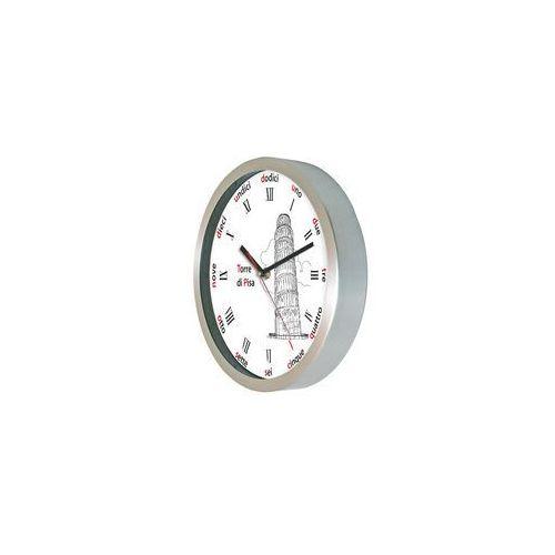 Aluminiowy zegar ścienny krzywa wieża w pizie marki Atrix