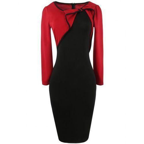 Bowknot Long Sleeve Panel Bodycon Dress, 1 rozmiar