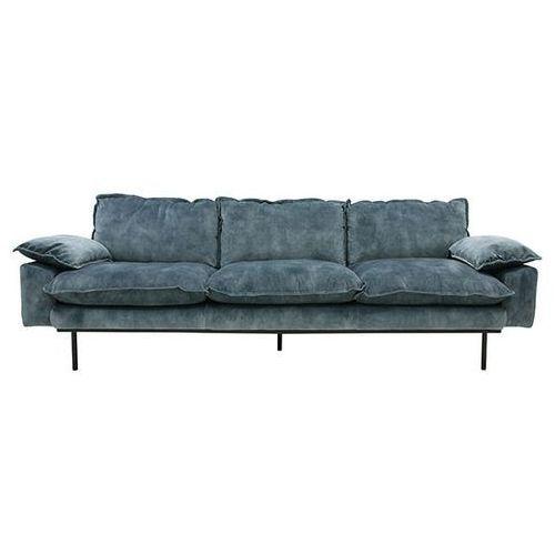 Sofa retro 4-osobowa velvet w kolorze niebieskim - marki Hk living