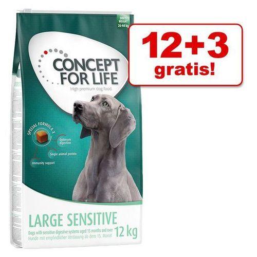 Concept for life Duże opakowanie + 3/1,5 kg gratis! karma dla psa - medium junior, 12 + 3 kg