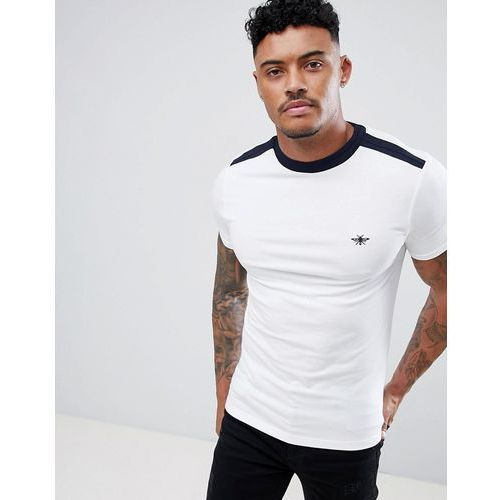 River Island Muscle Fit T-Shirt With Wasp Embroidery In White - White