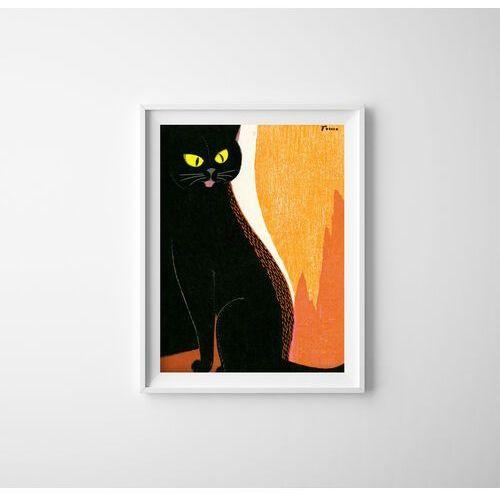 Vintageposteria.pl Plakat vintage do salonu plakat vintage do salonu czarny kot autorstwa tomoo inagaki