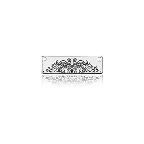 Zawieszka/łącznik grawerowany podłużny folkowy, srebro 925 BL 123