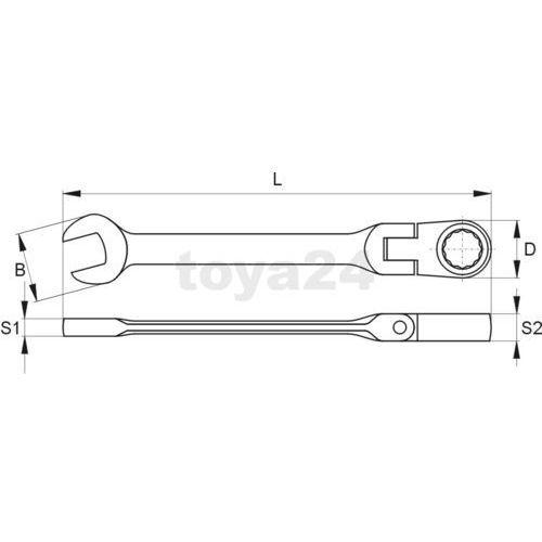 Klucz płasko-oczkowy z grzechotką i przegubem 15 mm / YT-1681 / YATO - ZYSKAJ RABAT 30 ZŁ (5906083916816)