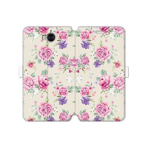 Huawei y5 (2017) - etui na telefon wallet book fantastic - pastelowe różyczki marki Etuo wallet book fantastic