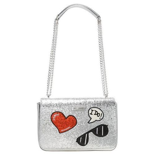 Love Moschino GLITTER PATCHES SHOULDERBAG Torba na ramię argento, kolor szary