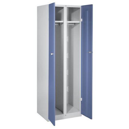 Szafa stalowa, szer. 600 mm, 2 garderoby, drzwi niebiesko-szare. Do każdego zast