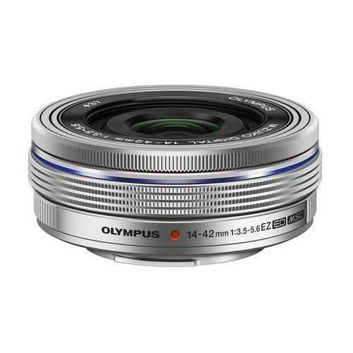 Olympus m. 14-42 mm f3.5-5.6 ez lc-37c srebrny obiektyw z zakrywką mocowanie micro 4/3