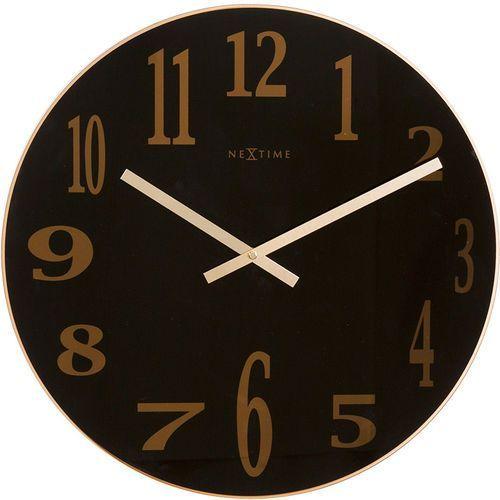 Zegar ścienny Smoky Mirror Nextime 43 cm, czarny (2472 ZW), kolor czarny
