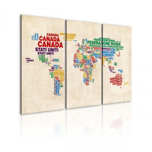 Obraz - Włoskie nazwy państw w żywych kolorach - tryptyk, A0-N2111 (5426933)