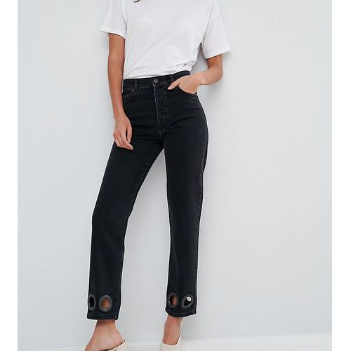 ASOS TALL FLORENCE Authentic Straight Leg Jeans in Washed Black with Oversize Rivets - Black, jeans