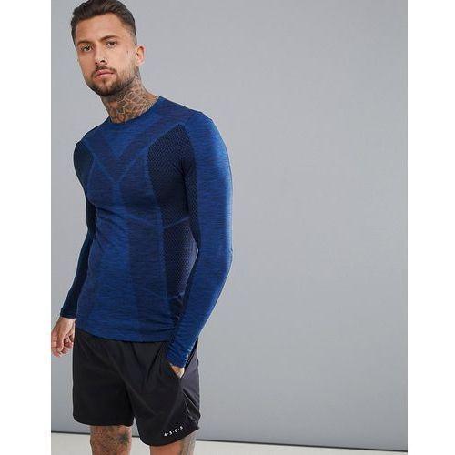 long sleeve t-shirt with jacquard seamless knit - navy marki Asos 4505