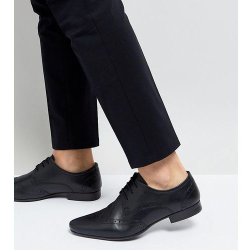 wide fit smart brogues in black leather - black, Silver street