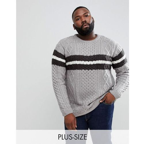 big & tall cable knit jumper with stripe in grey - grey, River island