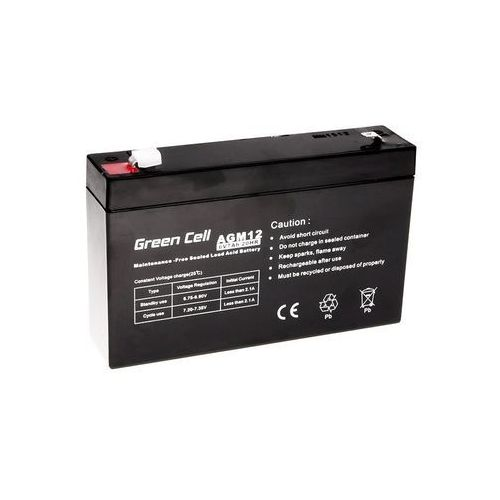 Akumulator AGM 6V 7Ah {151 × 35 × 100 mm} (GreenCell)