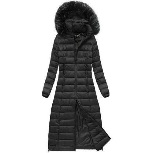 Długi pikowany płaszcz czarny (7758) - czarny marki Libland
