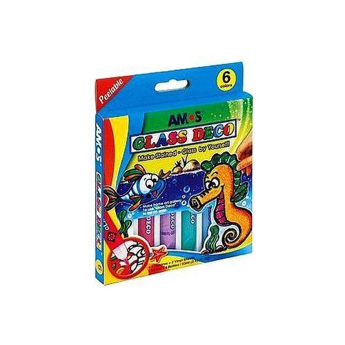 Amos Farby witrażowe 6 kolorów x 10,5ml glass deco gd10p6
