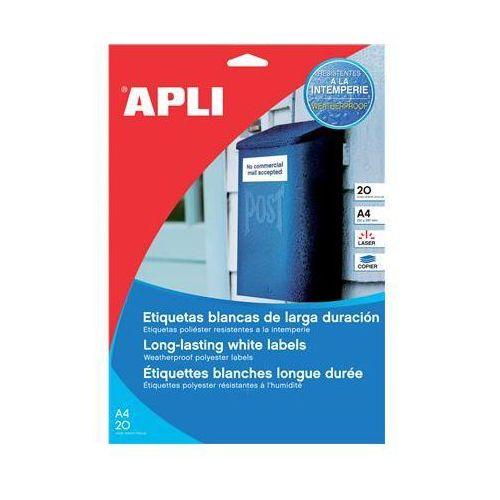 Etykiety poliestrowe APLI, 64,6x33,8mm, prostokątne, białe 20 ark. (8410782012269)
