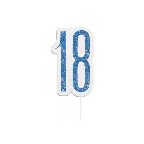 Brokatowa niebieska świeczka na 18-tke - 1 szt. marki Unique
