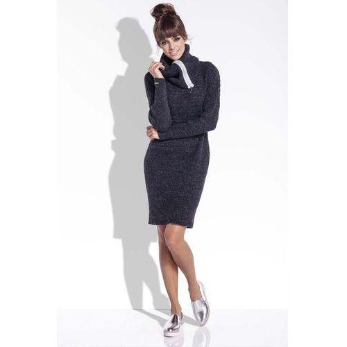 Fobya Czarna wełniana sukienka z dużym golfem