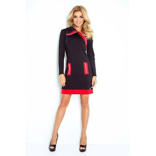 2673c0e8f2 Czarno Czerwona Sukienka Ołówkowa z Kont.