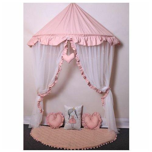 Różowo-biały baldachim dla dziecka z 3 poduszkami i matą - Sentopia 3X, Baldachim 3 poduszki