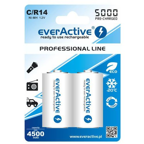 Everactive 2x  r14/c ni-mh 5000 mah ready to use