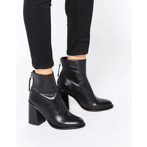 New look  leather zip back ankle boot with block heel - black