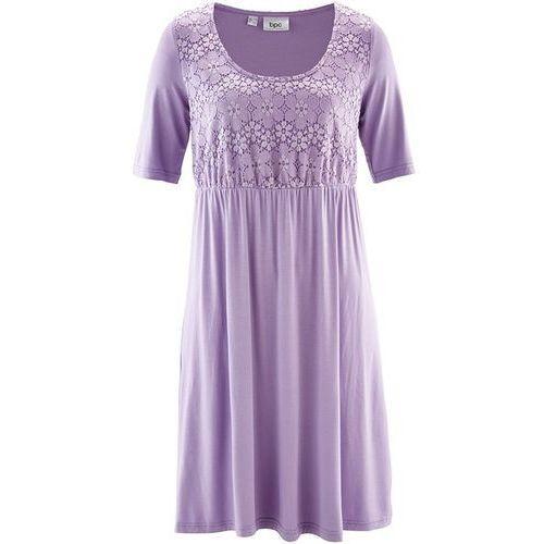 Sukienka z dżerseju z rękawami do łokcia i koronką bonprix w kolorze bzu, kolor fioletowy