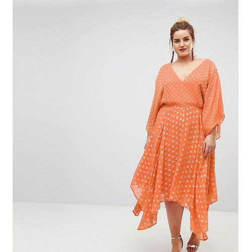 Asos curve flutter sleeve midi dress with hanky hem in glitter spot - orange