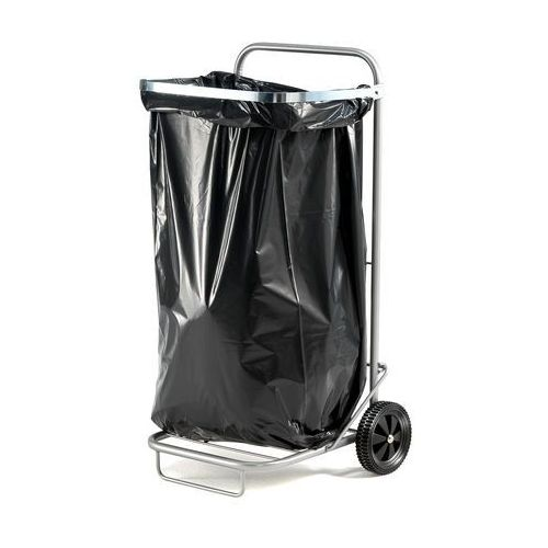 Stojak na worki na śmieci, na kółkach, 890x490x390 mm, srebrny, 24505