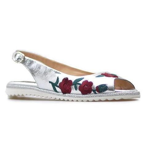 Sandały 42c497 srebrne kwiaty, Lanqier