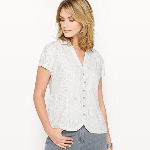 Bluzka koszulowa z nadrukiem, z lejącej krepy