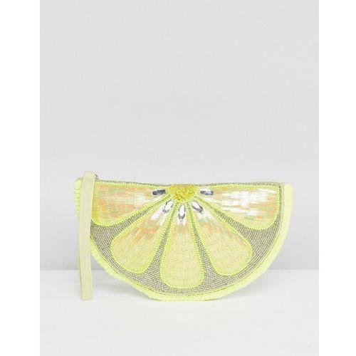 lemon embellished zip top clutch bag - yellow marki New look