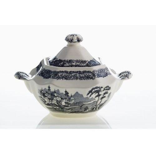 La cartuja de sevilla Pickman serwis do herbaty ochavada negro vistas 40 elementów dla 12 osób