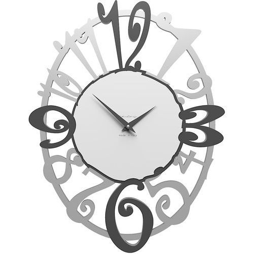 Owalny zegar ścienny Michelle CalleaDesign aluminium / szary / biały (10-129-3), kolor szary
