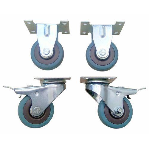 Zestaw kół fi 50 mm 2 szt. stałe i 2 szt. skrętne z hamulcem, gumowe.
