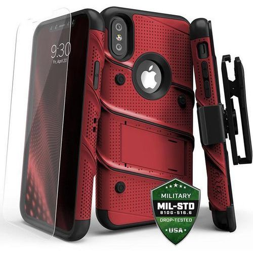 ZIZO BOLT COVER ETUI PANCERNE IPHONE X (RED/BLACK) + SZKŁO HARTOWANE NA EKRAN, kolor czarny