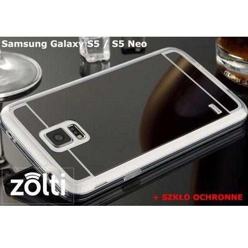 Zestaw   Slim Mirror Case Czarny + Szkło ochronne Perfect Glass   Etui dla Samsung Galaxy S5
