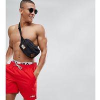 black line swim shorts with logo waistband in red - red marki Fila