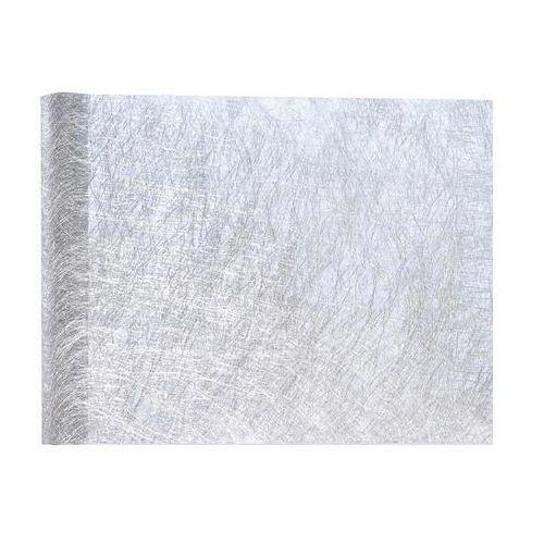 Dekoracja bieżnik metalizowany na stół - srebrny - 30 cm - 1 szt.