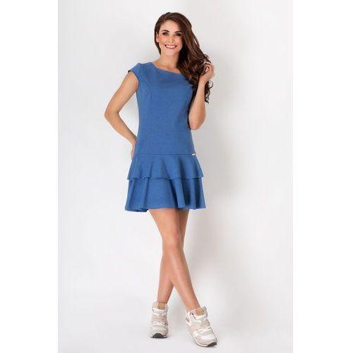 Niebieska Skromna Letnia Sukienka z Falbankami na Dole, kolor niebieski