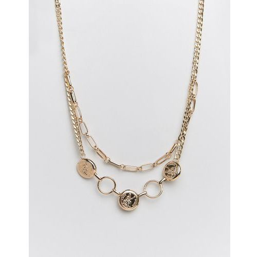 double layer chain and coin necklace in gold - gold marki Missguided