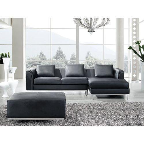 Beliani Nowoczesna sofa z pufą ze skóry naturalnej kolor czarny l - kanapa oslo