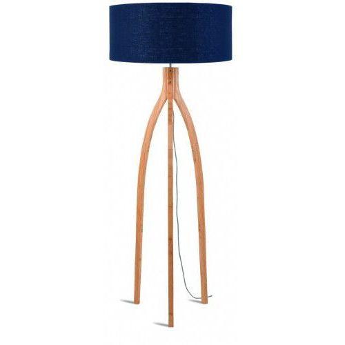 Lampa podłogowa Annapurna bambus 3-nożna 128cm/abażur 60x30cm, lniany blue denim, ANNAPURNA/F/6030/BD