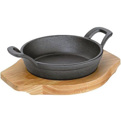 Patelnia żeliwna mini do serwowania z drewnianą podstawką kuchenprofi (ku-0305251016) marki Küchenprofi