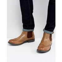 brogue chelsea boots tan leather - black, Frank wright