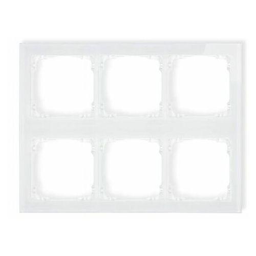Deco ramka modułowa 6 krotna (3 poziom, 2 pion) - efekt szkła (ramka biała spód biała) biały 0-0-drsm-3x2 marki Karlik elektrotechnik sp. z o.o.