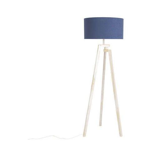 Qazqa Designerska lampa podlogowa trójnóg biale drewno niebieski klosz - cortina